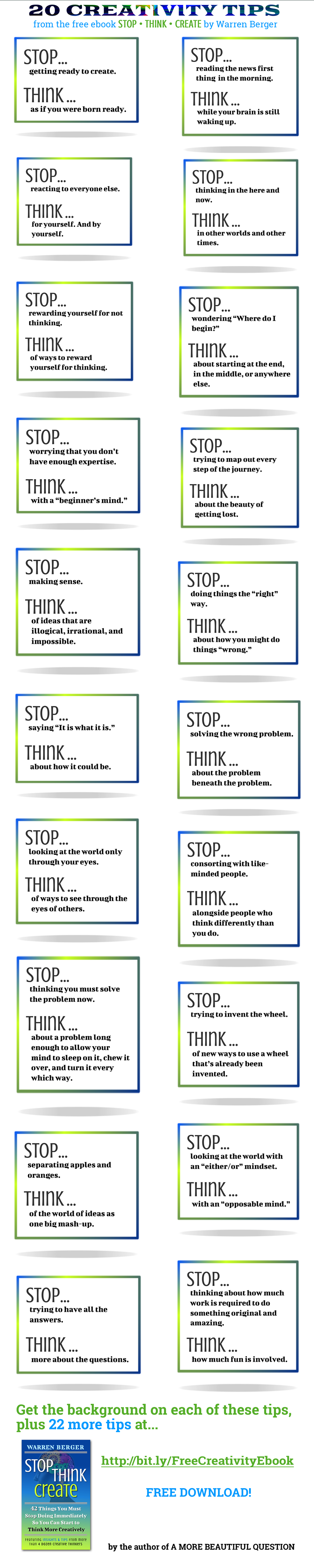 Stop Think Create Tips infographic