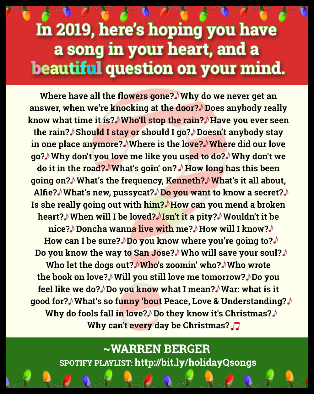 CLICK TO SEE BIGGER Holiday Card 2019 - Question Songs