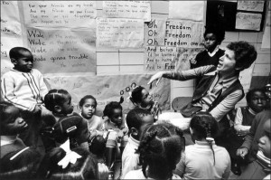 Deborah Meier leads a class in Harlem in the late 1960s.
