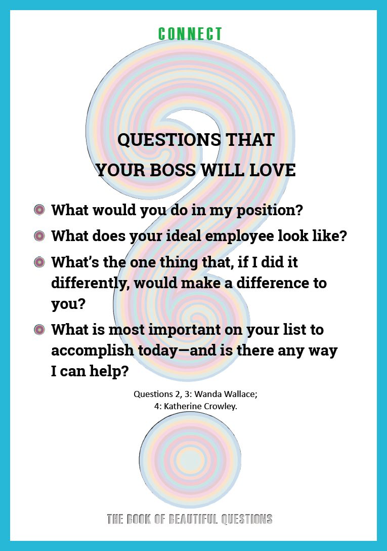 Ask questions of your boss (The Book of Beautiful Questions)